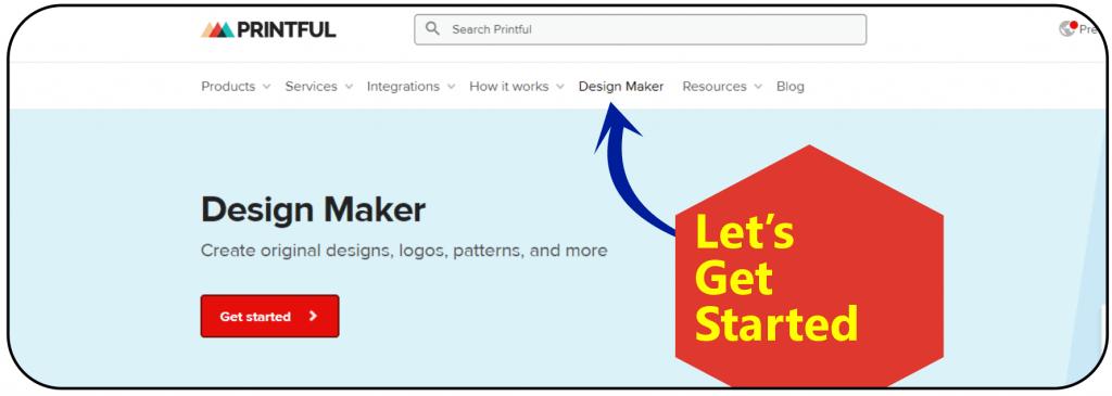 Printful Design Maker Login Screen