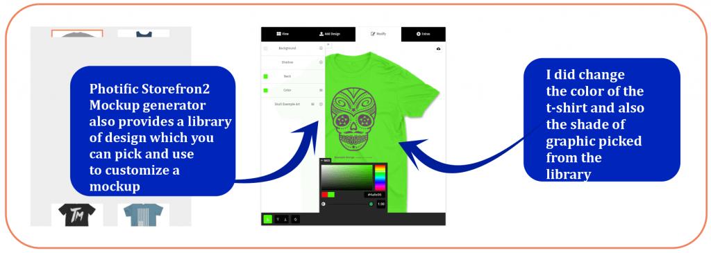 Storefront 2 mockup generator lets you change color of the t-shirt